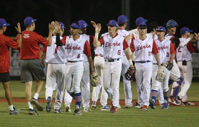Larks' players celebrate following a 4-3 win over the Fort Collins Foxes on Monday at Larks Park.