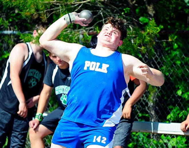 Polk County junior Harrison Waddell competes in the shot put earlier this season at a meet at Polk.