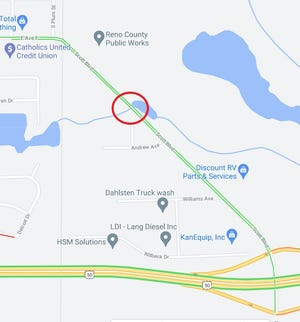 This map snip shows the Scott Boulevard bridge in question in the red circle. Dump trucks from the Reno County Public Works yard north of the bridge have been unable to use the route south to U.S. 50 since mid-2018, when the state lowered the bridge's weight rating, and so use South Hutchinson city streets.