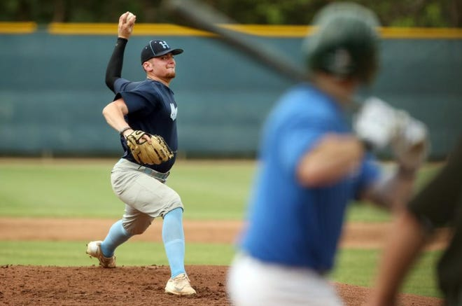 Monarchs pitcher Jackson Rogers delivers a pitch to Cheney batter in this file photo from 2018.