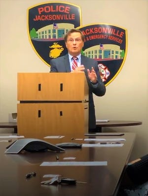 Onslow District Attorney Ernie Lee speaking with a group of county agencies announcing a youth criminal diversion program on Monday afternoon, July 12, 2021.