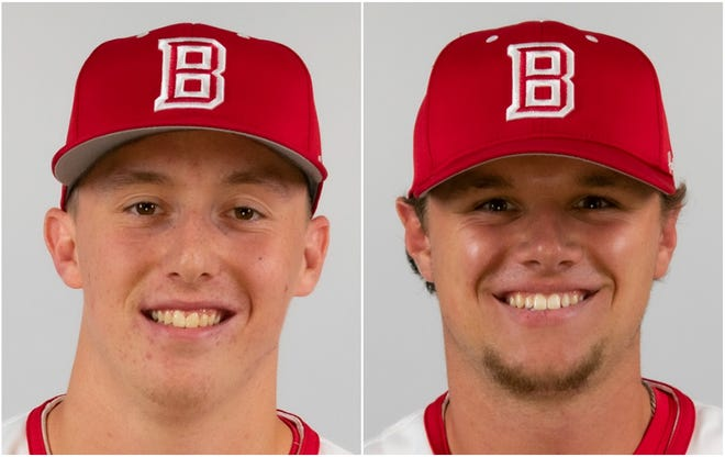 Bradley pitchers Brooks Gosswein, left, and Theron Denlinger were drafted Monday by the Chicago White Sox.