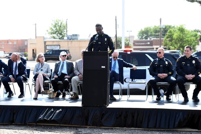 Police Chief Floyd Mitchell makes a few remarks during a groundbreaking ceremony for the new police headquarters on Tuesday.
