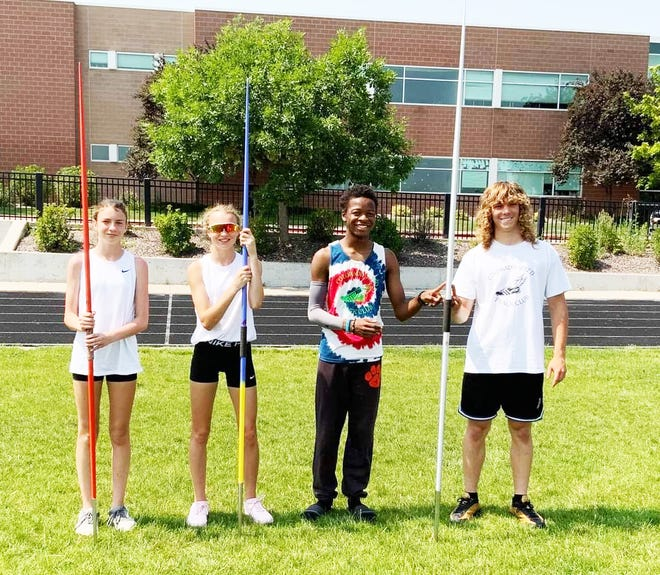 Four members of the Colorado Speed track and field club who participated at the 2021 USATF Colorado Open Outdoor Championships last weekend in Aurora. From left, Kailey Pearson, Kaitlyn Pearson, Miles Marshall and Ryan Remick.