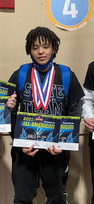 Shown is Leavenworth junior wrestler Hannah Jackson at the 2021 Adidas Wrestling National Tournament in April. Jackson won the 171-pound class freestyle tournament and the 158-pound folkstyle bracket. Her performance earned her All-American status at the event.