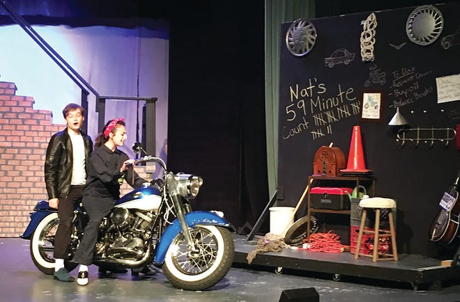 """Cast members of the community theater musical """"All Shook Up"""" rehearse a scene from the play this week at the Performing Arts Center. The musical will be performed Friday and Saturday at the downtown theater, and again July 23-24, July 30-31 and Aug. 1."""