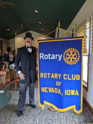 Dan Johnson, a Nevada Rotary member, portrays the role of Frank Flack, one of the founding members of the local organization.