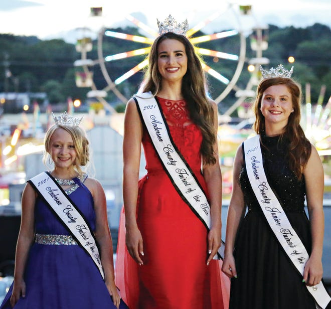 The 2021 Fairest of the Fair winners in the Junior, Senior and Princess categories are, from left, Princess — Eleanor Linthicum, Senior — Jillian Rebecca Bivens, and Junior — Cadence Crowley.