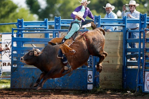 Lukasey Morris ride a bull during Tuesday's competition at the International Youth Finals Rodeo in Shawnee. Morris is back to riding bulls a year after suffering a brain injury.