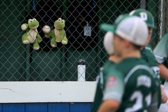 """Dover players display the """"Rally Frogs"""" in their dugout during the 2021 New Hampshire state championship win over Quintown in Hampton."""