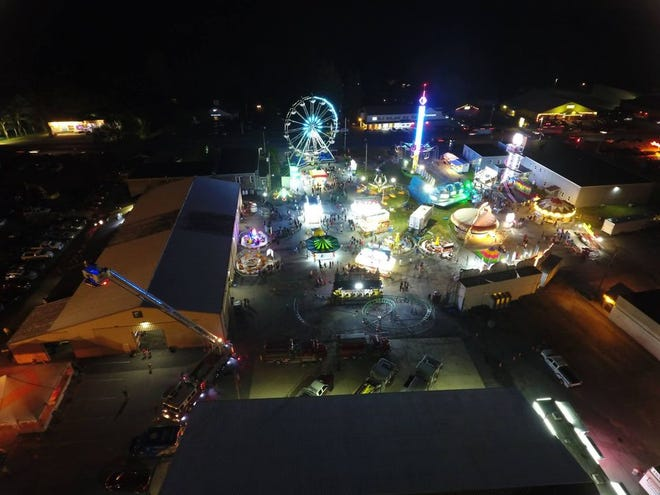 An aerial view of the Pocono Township Volunteer Fire Co. carnival in Tannersville.