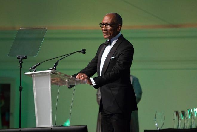 Petersburg native Walter Hill, Jr. presents an ASI Marvin Spike Lifetime Achievement Award recipient speech in July of 2015.
