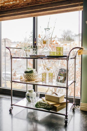 Everything you place on these tiny shelves needs to either serve a functional purpose or add a powerful punch of visual panache.