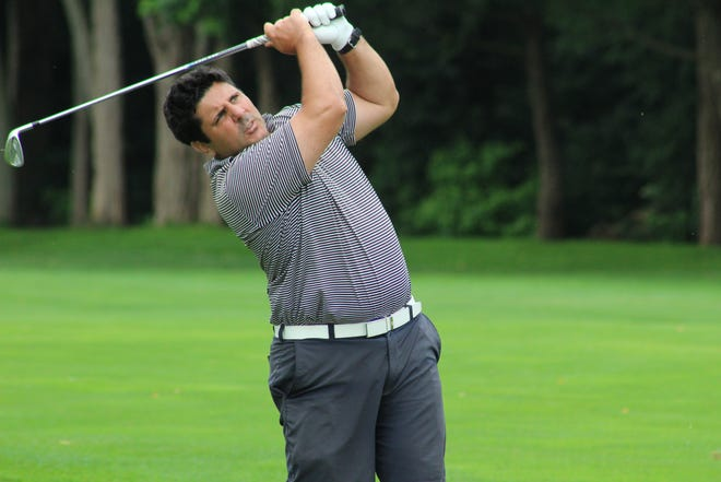 Tom McCormick follows through on his shot on Tuesday at the Rhode Island Amateur at Kirkbrae Country Club in Lincoln.