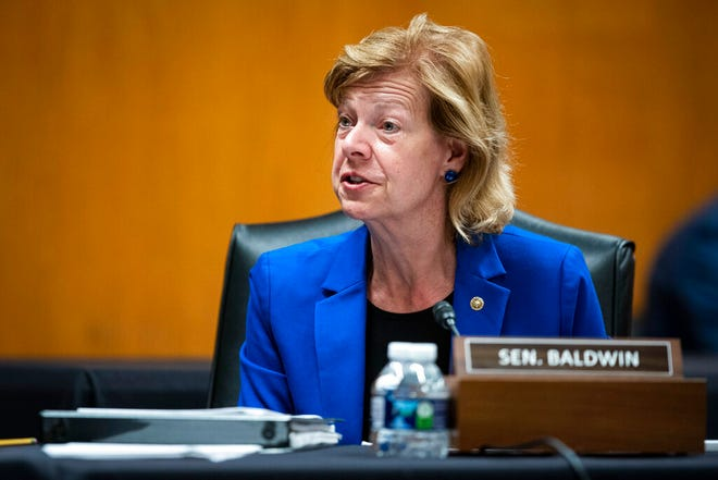 Sen. Tammy Baldwin, D-Wis., speaks during a Senate Appropriations Subcommittee hearing, Wednesday, June 9, 2021, on Capitol Hill in Washington. Baldwin joined fellow Democratic senators Raphael Warnock and Jon Ossof of Georgia in introducing a bill on Monday, July 12, 2021, to require the federal government to set up a Medicaid-like health plan in states that have not expanded Medicaid plans to cover more low-income adults. Al Drago/Pool via AP, file