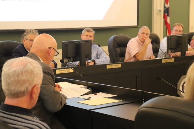 Mayor Stephan Wilder addresses the North Canton City Council at its July 12, 2021 meeting in the North Canton Civic Center.