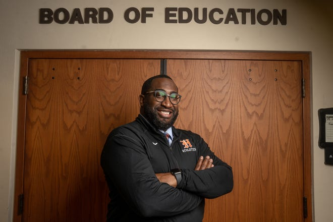 Terrell Yarbrough, the new superintendent of the Harlem School District, plans to focus on equity initiatives and work to bolster graduation rates above the state average. He's shown Friday, July 9, 2021, at the district offices in Machesney Park.
