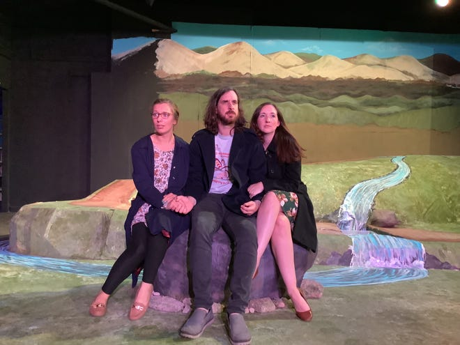 """Cassi File, left, Stephen Prouty and Christine Aranyos Prouty appear in the Twin City Players' production of """"The Women of Lockerbie"""" that opens July 16 and continues through Aug. 1, 2021, at the theater in St. Joseph."""