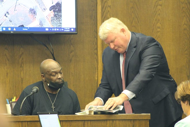 Defense Attorney John Bridges asks witness Keith Rankin to go through maps of the neighborhood to identify where things happened the day of the fatal shooting.