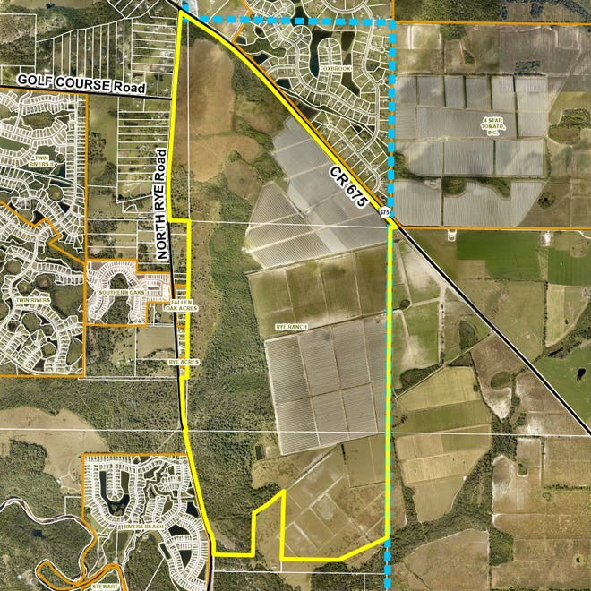 Manatee County commissioners in June gave thumbs up for the construction of a new master-planned community called Rye Ranch in Parrish. The project is located just west of the county's urban boundary line, which is designated in this map in blue. The project outline is in yellow.