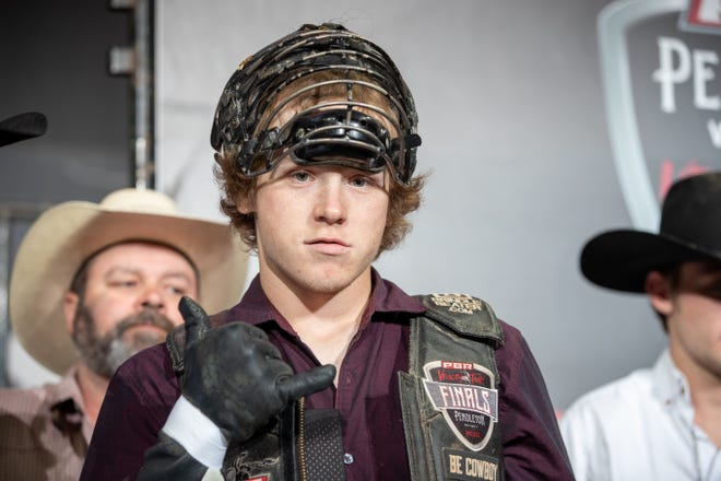 Grayson Cole during round 2 of the PBR Pendleton Whisky Velocity Tour event in Sioux City, Iowa.
