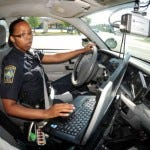 Former City of Wilmington Police Officer CiLesha Perkins patrols the Monkey Junction area Thursday, April 26, 2012.