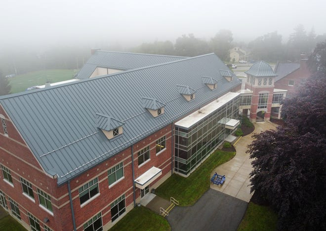 The Fuller Campus Center seen from a drone over the Becker College campus in Leicester Tuesday.