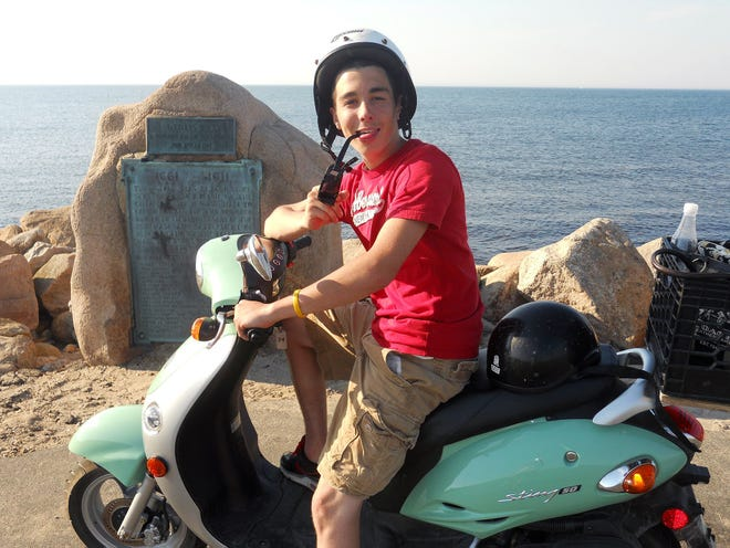 Myles Brastow on a moped on Block Island before dying in a traffic accident. His death prompted his mother, Melissa, to start a support group for grieving mothers, which will begin meeting in Sterling this month.