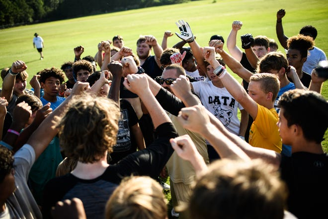 The Gray's Creek football team practices during a summer workout on Monday, July 12, 2021.