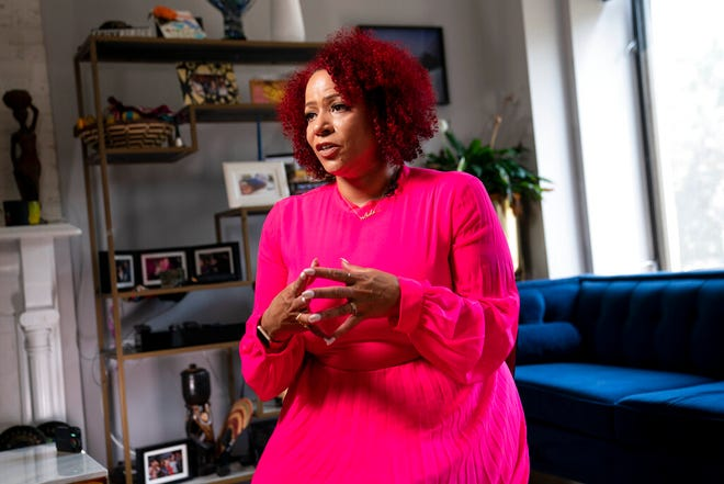Nikole Hannah-Jones is interviewed at her home in New York. Hannah-Jones opted against teaching at the University of North Carolina after a protracted tenure fight centered on conservative objections to her work and instead chose Howard University, where she will hold the Knight Chair in Race and Journalism.