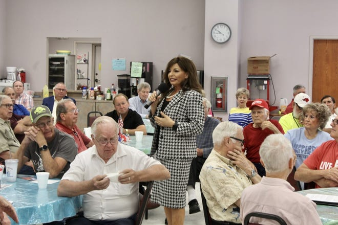 U.S. Senate candidate Jan Morgan speaks to Q&A Public Awareness Forum attendees at the Fort Smith Senior Activity Center on Tuesday, July 13, 2021.