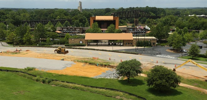 Road work in front of the Tuscaloosa Amphitheater could complicate the 2021 concert season. The project is seen Tuesday, July 13, 2021. [Staff Photo/Gary Cosby Jr.]