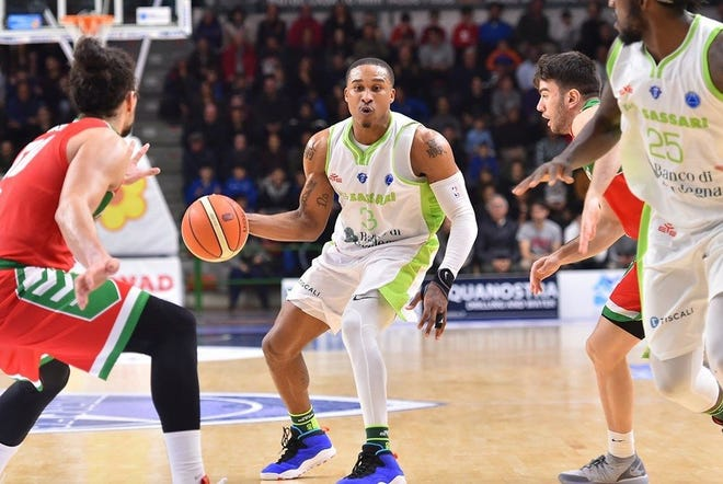 Former Cowley College stand-out Tyrus McGee playing in the FIBA league