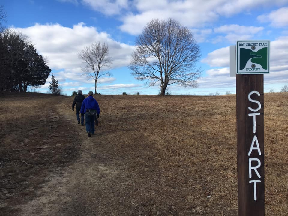 Rich and Sue Harbert set out on the Bay Circuit Trail in Duxbury.