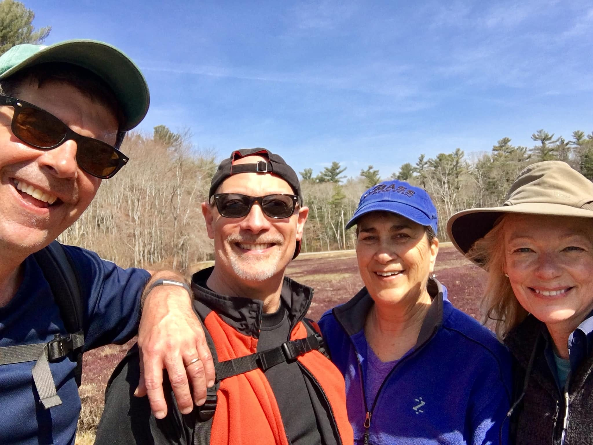 From left, Rich Harbert, Dan and Marj Kobrin, and Sue Harbert pause for a selfie as they set out on the Bay Circuit Trail.