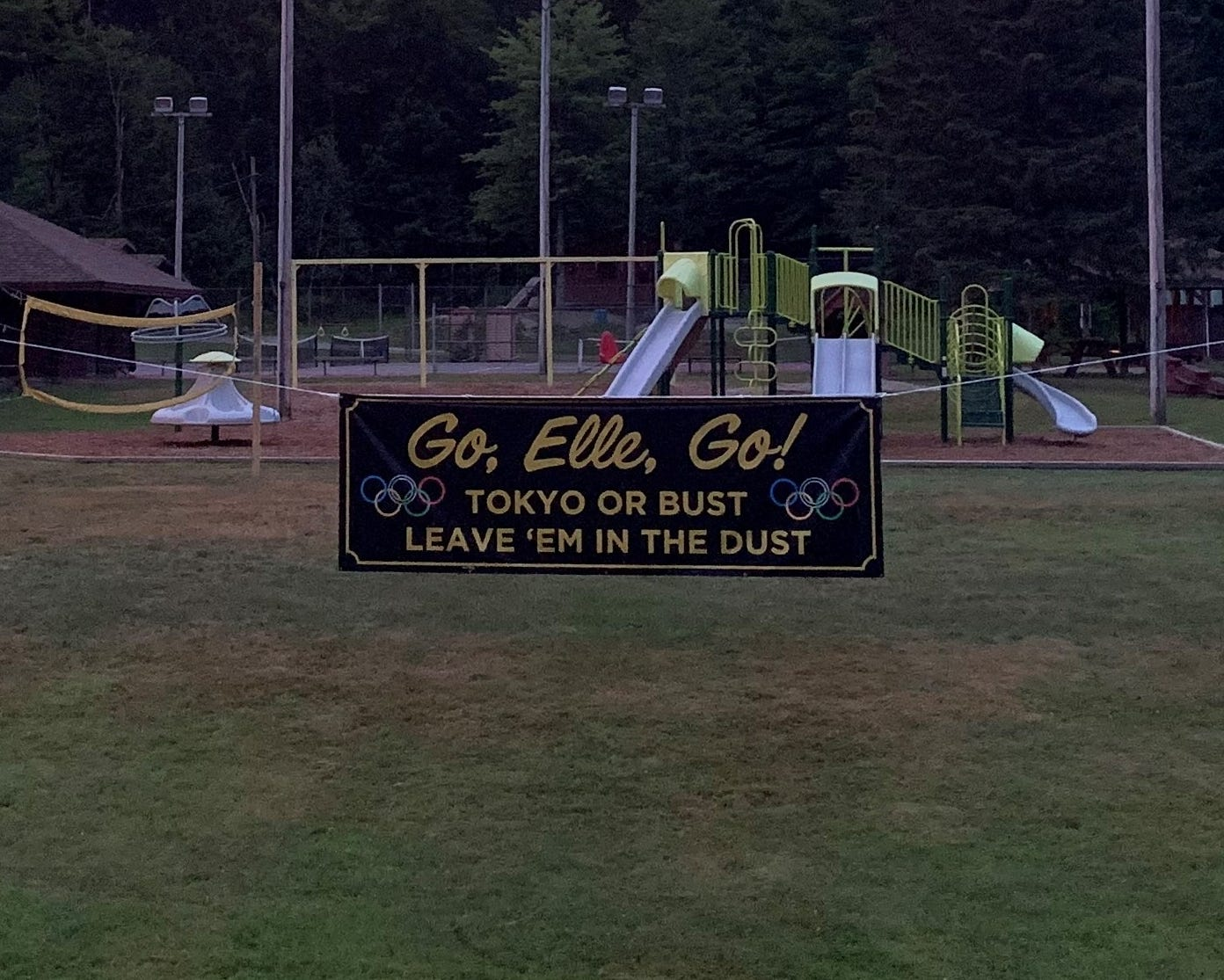 An Olympics sign cheering on Elle Purrier St. Pierre hangs outside of the recreation center in Montgomery where she played at as a child. Taken July 12, 2021.