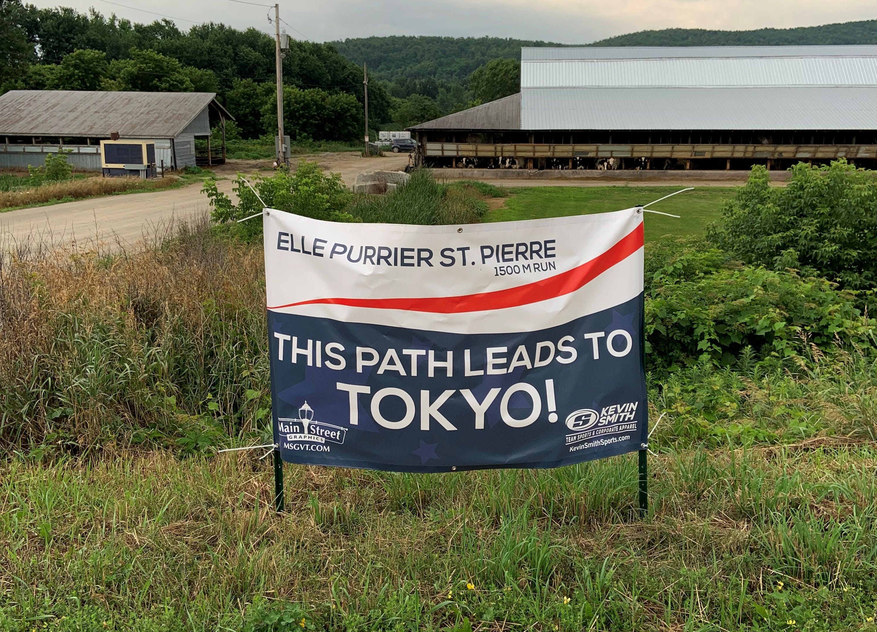 Tokyo Olympics sign marks the entrance to a Missisquoi Valley Rail Trail that Elle Purrier St. Pierre runs while home. Taken July 12, 2021.