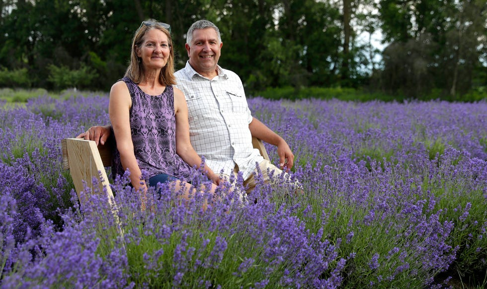 Kathy and Randy Meyer, owners of Potter Creek Lavender, are pictured on their lavender farm on June 30, 2021, in Pittsfield, Wis.