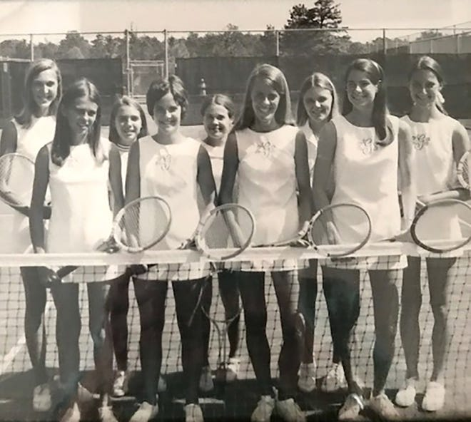 Jay Dupree, Nancy Bennett and Nancy Foreman are pictured here on the Greenville High School tennis team in 1971.