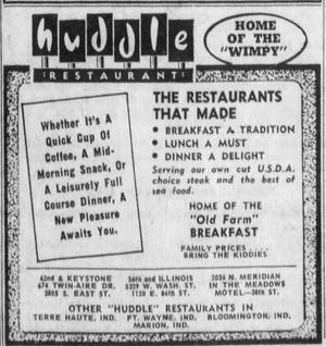 A Huddle Restaurant advertisement from a Mar. 21, 1971 copy of the Indianapolis Star shows the large variety of menu options they had.
