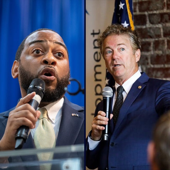 Former Democratic state Rep. Charles Booker, left, is looking to take the place of Republican Rand Paul in the U.S. Senate.