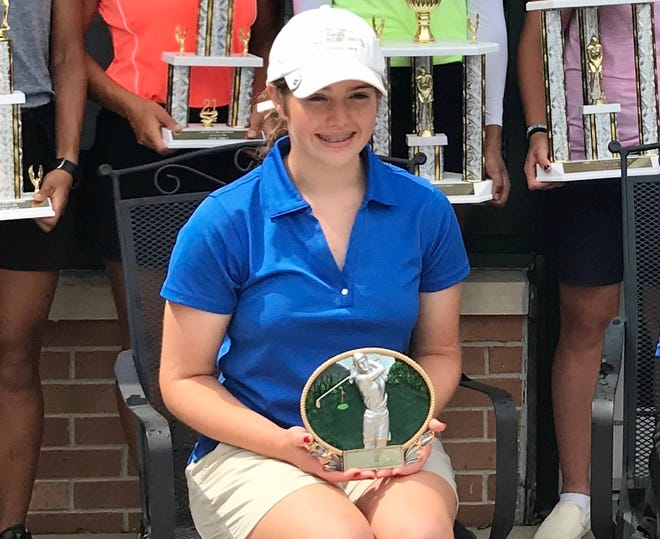 Pleasant sophomore Maura Murphy poses with her Most Improved Golfer trophy that she earned from this week's Ohio Junior Girls Championship at the Marion Country Club. Murphy shot a 169, which was 22 strokes better than her effort in 2020.