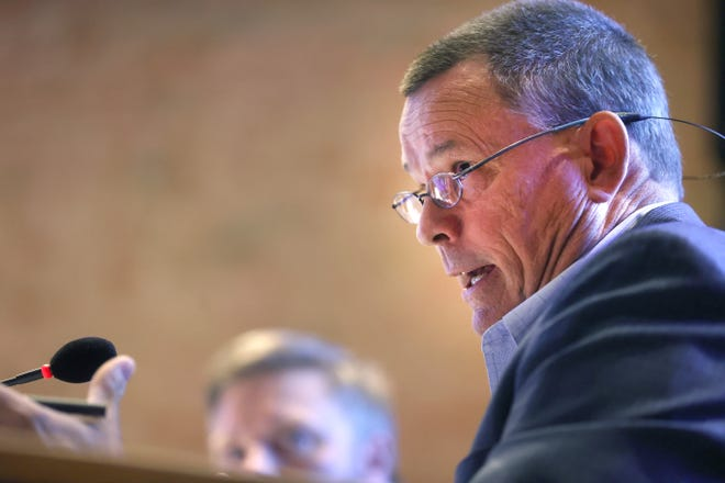 Alderman Jon McCreery speaks during a Board of Mayor and Aldermen Meeting at Germantown City Hall on Monday, July 12, 2021.
