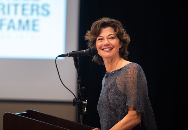 Amy Grant speaks after being announced for the veteran songwriter/ artist category for the Nashville Songwriters Hall of Fame, Class of 2021 at the Mike Curb College of Entertainment in Nashville, Tenn., Tuesday, July 13, 2021.