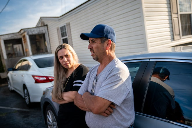 Brixel Rios and her father, Javier Rios, speak about the termination of their lease at the 1209 Dickerson Pike mobile home community in Nashville, Tenn., Monday, July 12, 2021. The land owner has told residents they must leave the property by August 31st to ready the land for redevelopment.