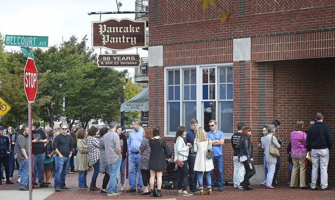 The line runs out the door and down the sidewalk as patrons wait for entrance into the Pancake Pantry in Hillsboro Village Oct. 21, 2016.