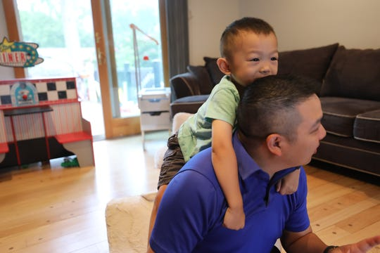 Dr. Minh-Tu Do after he read a book to his son Joey 4 at home. Both children received the COVID vaccine as part of a Pfizer-BioNTech clinical trial with Rutgers University.