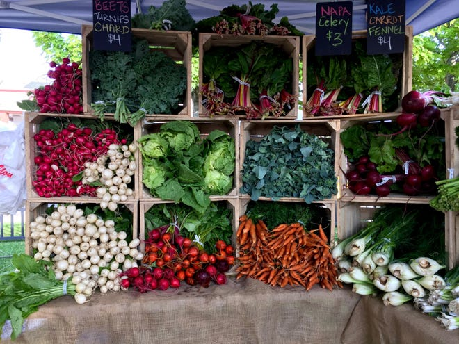 The display at Beaverland Farms' stand shows the array of produce the Market's farmers offer.