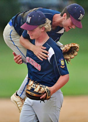New Oxford celebrates a 5-1 win over Red Lion during York Adams American Legion championship baseball action at Laucks Memorial Park in Windsor, Monday, July 12, 2021. Dawn J. Sagert photo