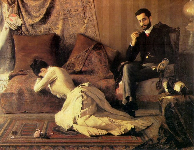 """This public domain image of an 1887 oil on canvis painting by Brazilian artist Belmire de Almeda entitled """"The Spat,"""" perfectly illustrates the pain of a woman who is shattered a man's disappointing actions and indifference, akin to one of today's stories."""